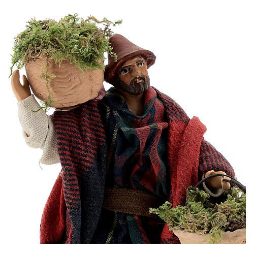 Shepherd carrying moss baskets12 cm Neapolitan nativity figurine 2