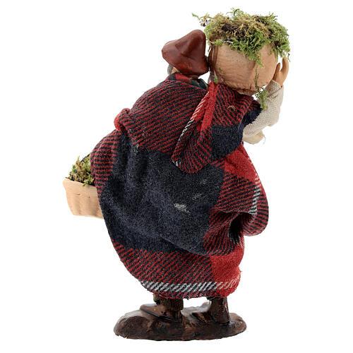 Shepherd carrying moss baskets12 cm Neapolitan nativity figurine 5