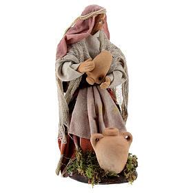 Femme avec jarres santon terre cuite crèche napolitaine 12 cm s4