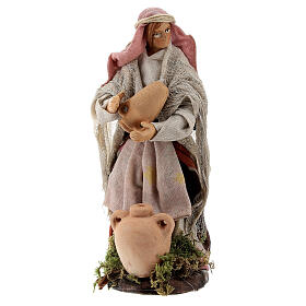 Donna con anfore statua terracotta presepe napoletano 12 cm s1