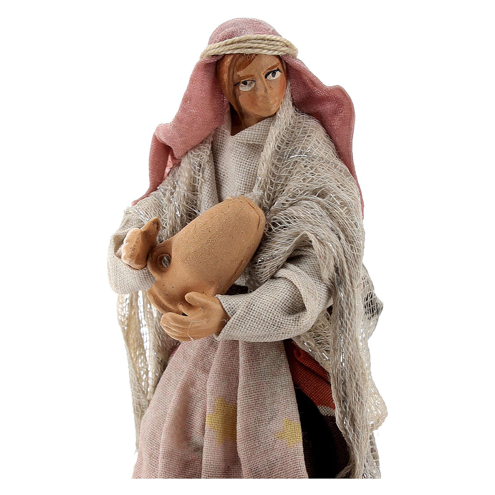 Woman with vases in terracotta, 12 cm Neapolitan nativity 4
