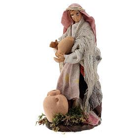 Woman with vases in terracotta, 12 cm Neapolitan nativity s3