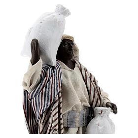Mulatto con sacco statua terracotta presepe napoletano 12 cm s2