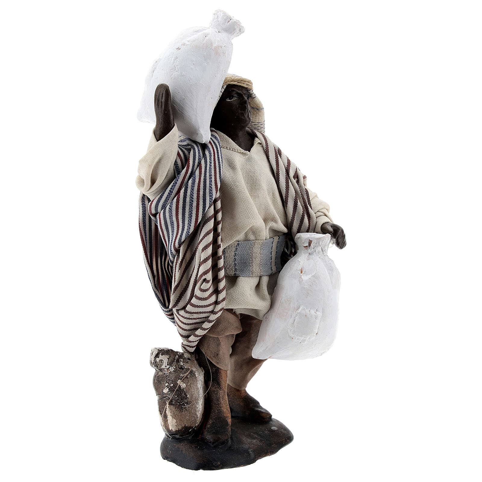 Black man carrying sacks terracotta, 12 cm Neapolitan nativity 4
