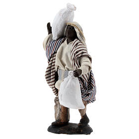 Black man carrying sacks terracotta, 12 cm Neapolitan nativity s3