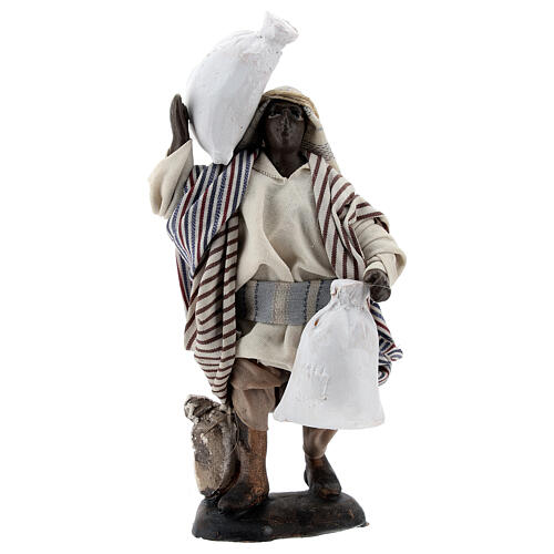 Black man carrying sacks terracotta, 12 cm Neapolitan nativity 1