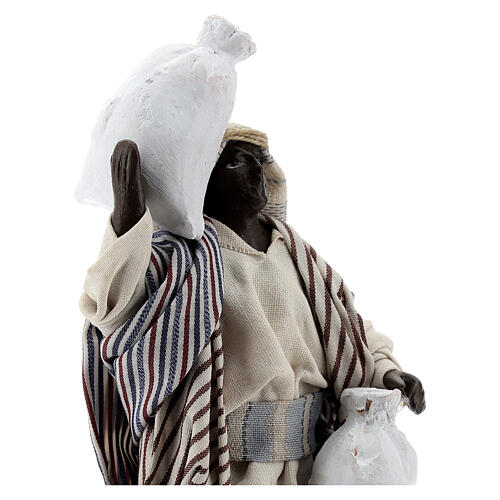 Black man carrying sacks terracotta, 12 cm Neapolitan nativity 2