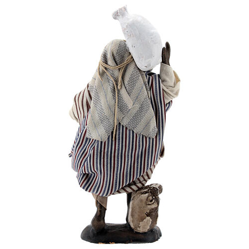 Black man carrying sacks terracotta, 12 cm Neapolitan nativity 5