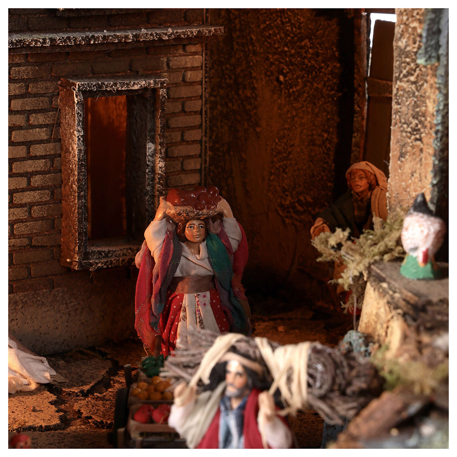 Neapolitan nativity village with bell tower church with animated figurines 8-10 cm 90x80x60 cm 4