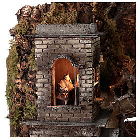 Neapolitan nativity village with bell tower church with animated figurines 8-10 cm 90x80x60 cm s4
