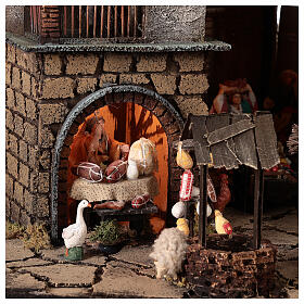 Neapolitan nativity village with bell tower church with animated figurines 8-10 cm 90x80x60 cm s8