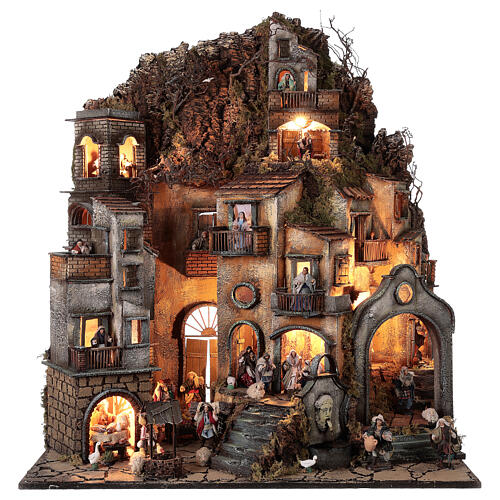 Neapolitan nativity village with bell tower church with animated figurines 8-10 cm 90x80x60 cm 1
