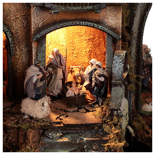 Neapolitan nativity village with bell tower church with animated figurines 8-10 cm 90x80x60 cm 2
