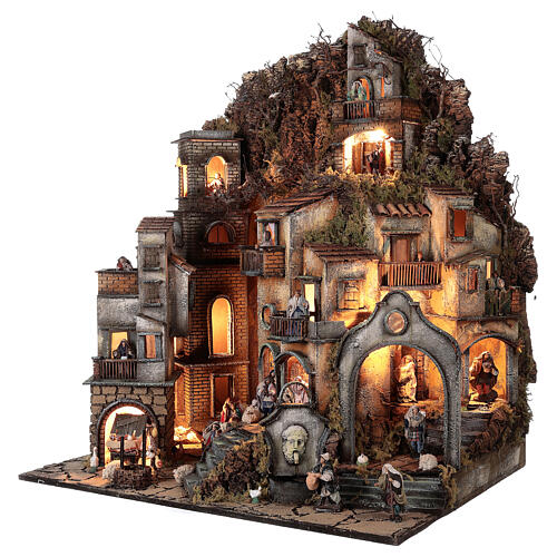 Neapolitan nativity village with bell tower church with animated figurines 8-10 cm 90x80x60 cm 3
