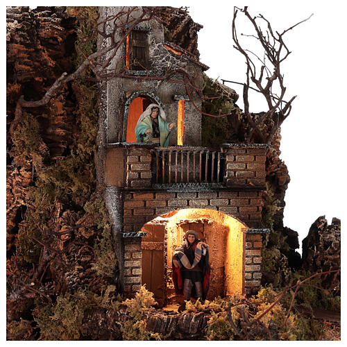 Neapolitan nativity village with bell tower church with animated figurines 8-10 cm 90x80x60 cm 7