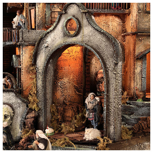 Neapolitan nativity village with bell tower church with animated figurines 8-10 cm 90x80x60 cm 12