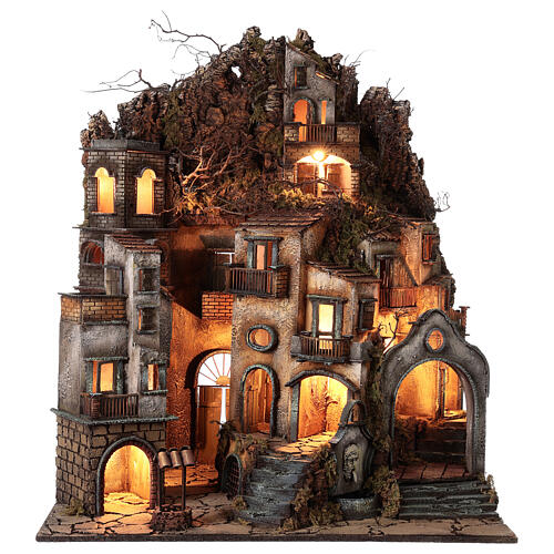 Neapolitan nativity village with bell tower church with animated figurines 8-10 cm 90x80x60 cm 13