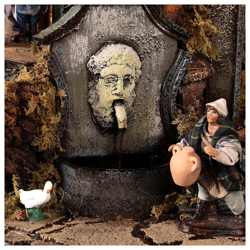 Pueblo campanario iglesia belén napolitano movimiento estatuas 8-10 cm 90x80x60 cm 10