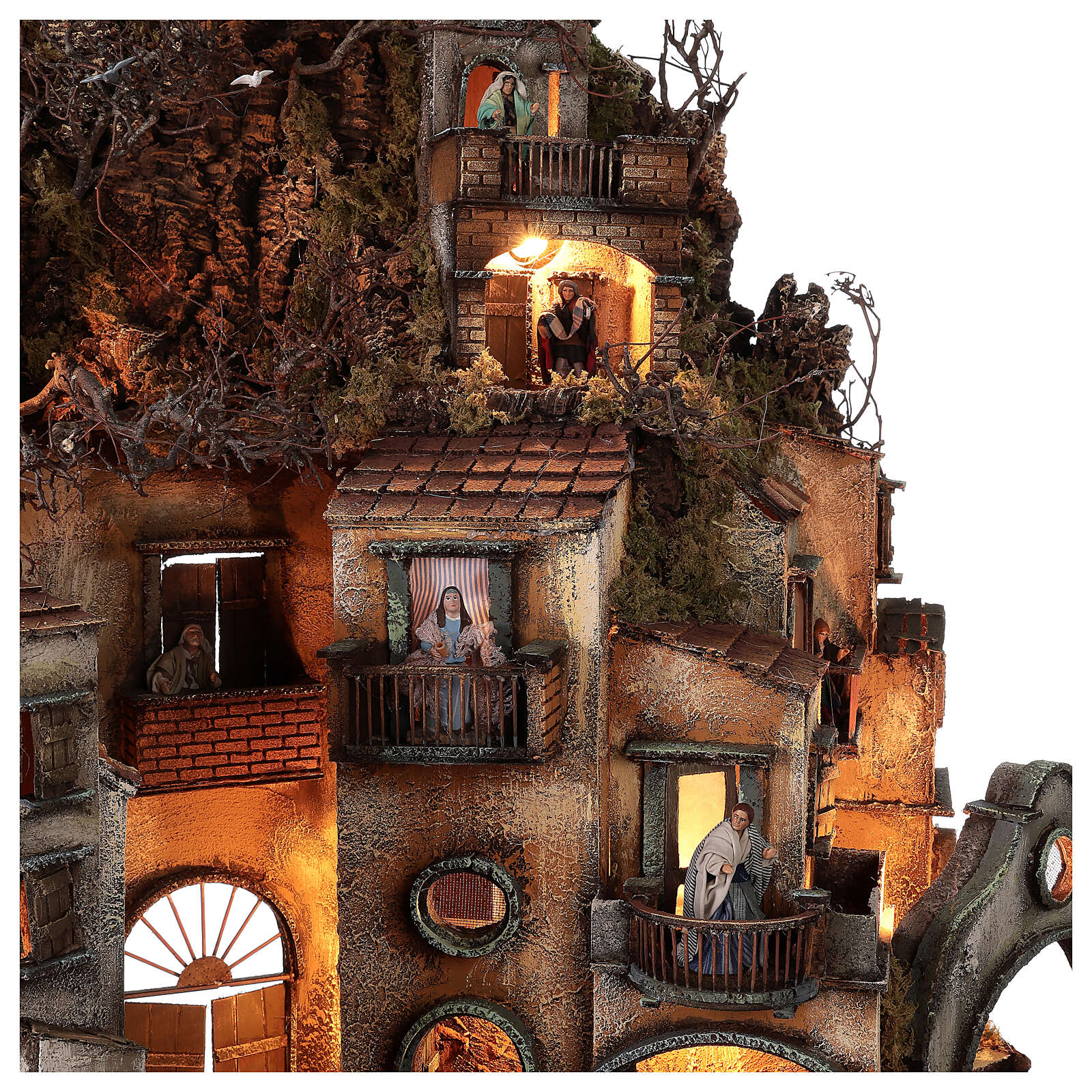 Borgo campanile chiesa presepe napoletano movimento statue 8-10 cm 90x80x60 cm 4