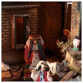 Borgo campanile chiesa presepe napoletano movimento statue 8-10 cm 90x80x60 cm s9