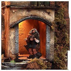 Borgo campanile chiesa presepe napoletano movimento statue 8-10 cm 90x80x60 cm s11