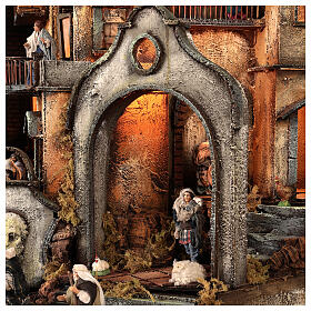 Borgo campanile chiesa presepe napoletano movimento statue 8-10 cm 90x80x60 cm s12