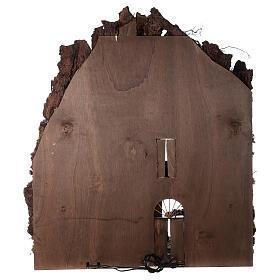 Borgo campanile chiesa presepe napoletano movimento statue 8-10 cm 90x80x60 cm s14