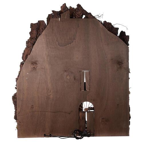 Borgo campanile chiesa presepe napoletano movimento statue 8-10 cm 90x80x60 cm 14