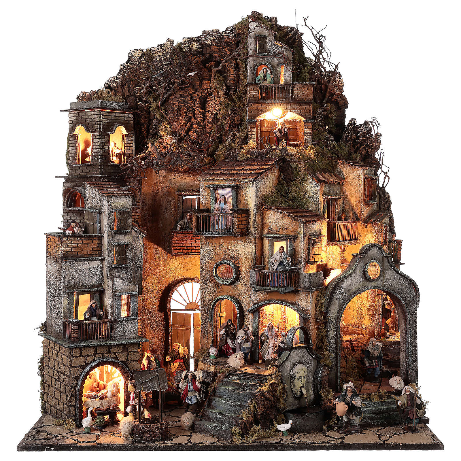 Neapolitan nativity village with bell tower church with movement statues 8-10 cm 90x80x60 cm 4