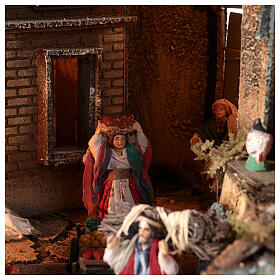 Neapolitan nativity village with bell tower church with movement statues 8-10 cm 90x80x60 cm s9