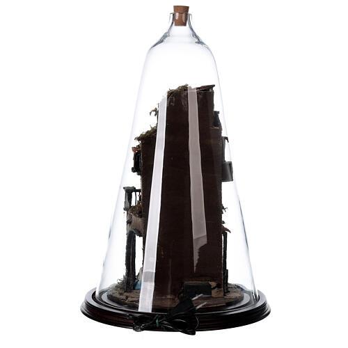Belén campana vidrio botella belén napolitano iluminado 50x30 8