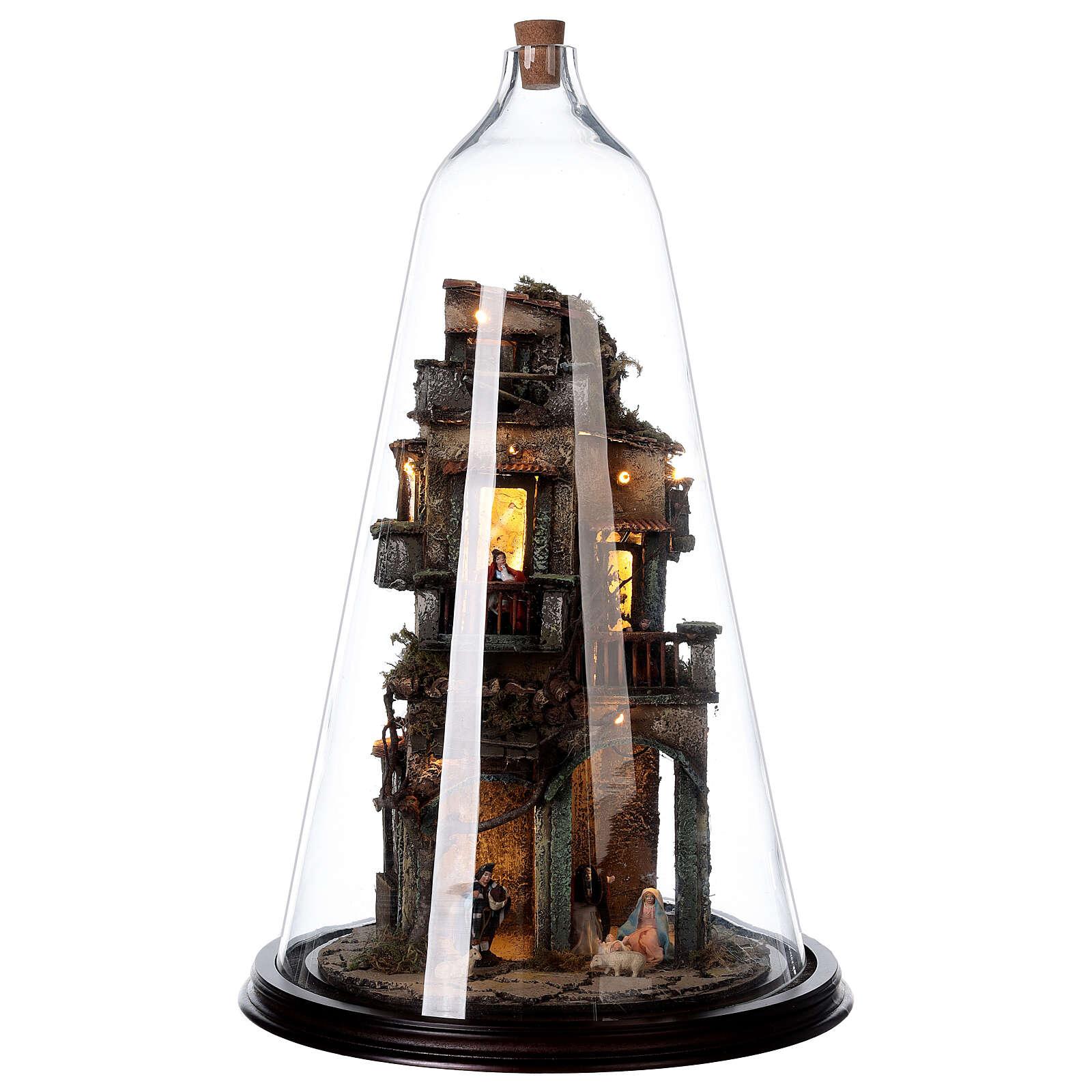 Presepe campana vetro bottiglia presepe napoletano illuminato 50x30 4