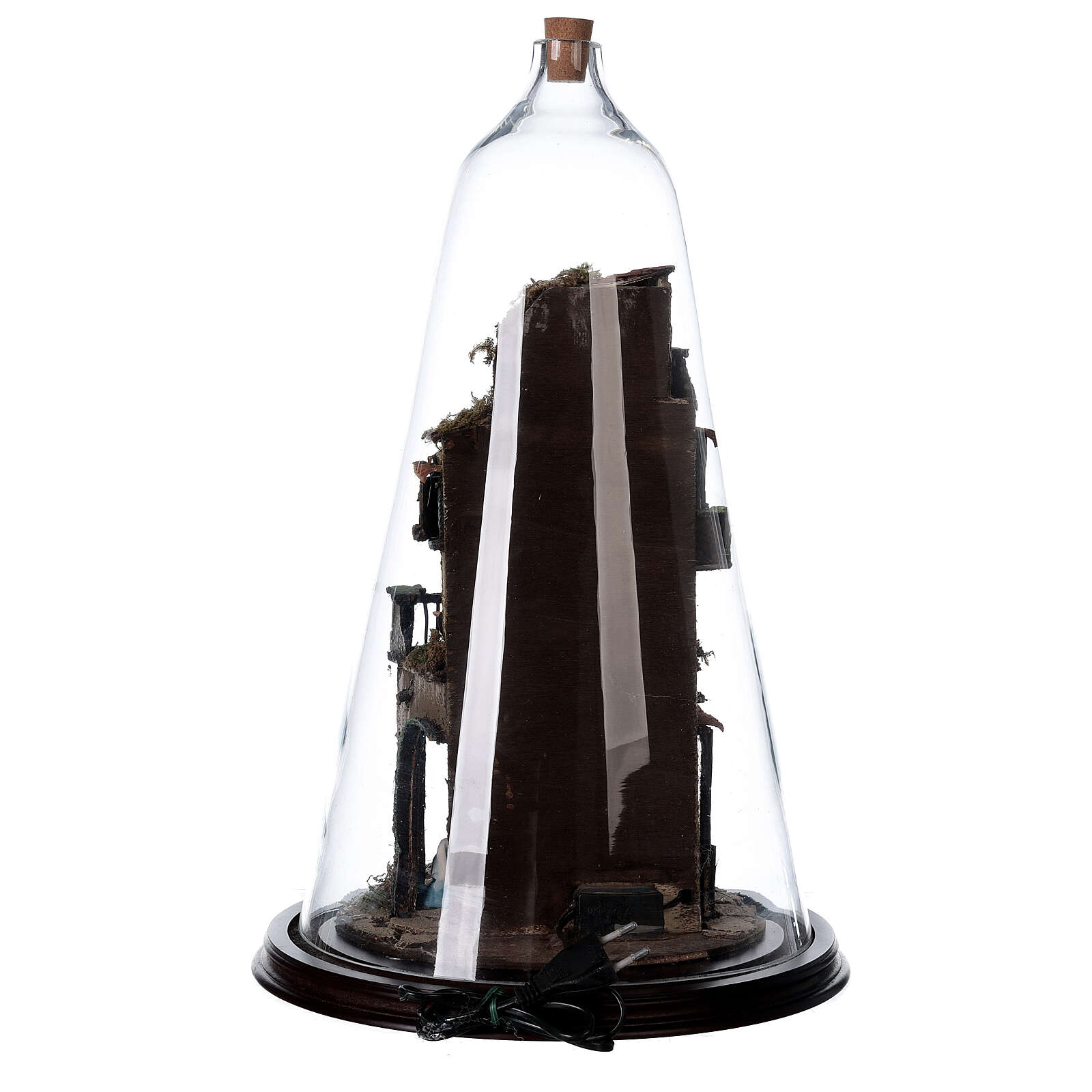 Nativity village in glass bell lighted Neapolitan nativity 50x30 cm 4
