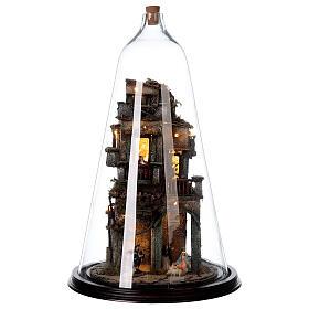 Nativity village in glass bell lighted Neapolitan nativity 50x30 cm s1