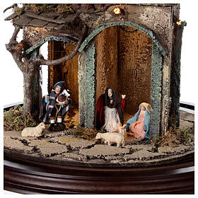 Nativity village in glass bell lighted Neapolitan nativity 50x30 cm s2