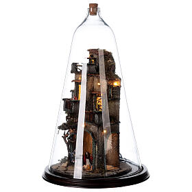 Nativity village in glass bell lighted Neapolitan nativity 50x30 cm s3