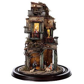 Nativity village in glass bell lighted Neapolitan nativity 50x30 cm s4