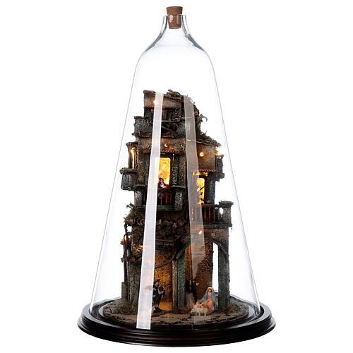 Nativity village in glass bell lighted Neapolitan nativity 50x30 cm 1