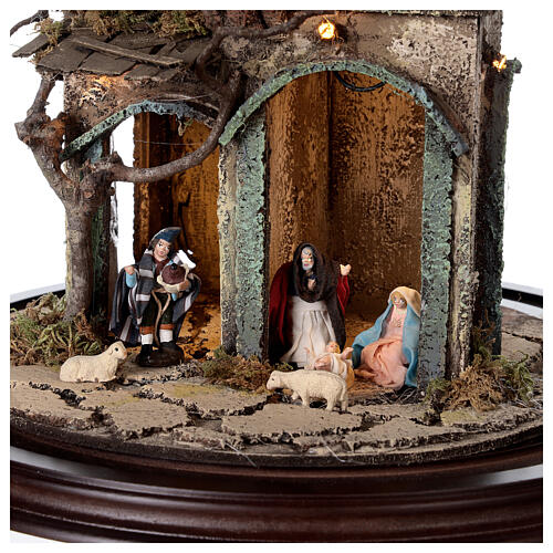 Nativity village in glass bell lighted Neapolitan nativity 50x30 cm 2