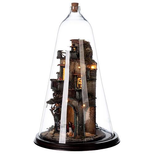 Nativity village in glass bell lighted Neapolitan nativity 50x30 cm 3