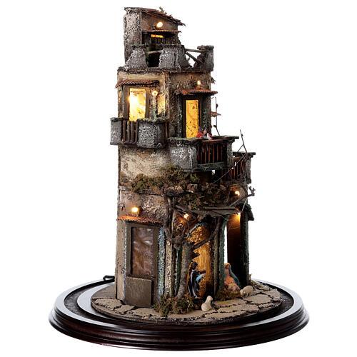 Nativity village in glass bell lighted Neapolitan nativity 50x30 cm 6