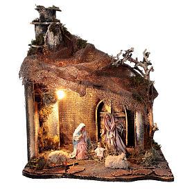 Cabaña Natividad puerta techo yute estatuas 12 cm belén napolitano 30x35x45 cm s1