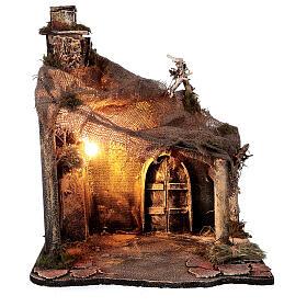 Cabaña Natividad puerta techo yute estatuas 12 cm belén napolitano 30x35x45 cm s5