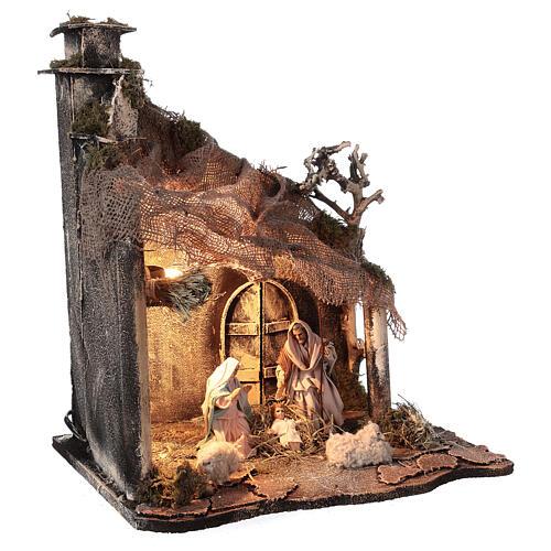 Cabaña Natividad puerta techo yute estatuas 12 cm belén napolitano 30x35x45 cm 4