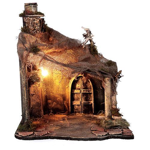 Cabaña Natividad puerta techo yute estatuas 12 cm belén napolitano 30x35x45 cm 5