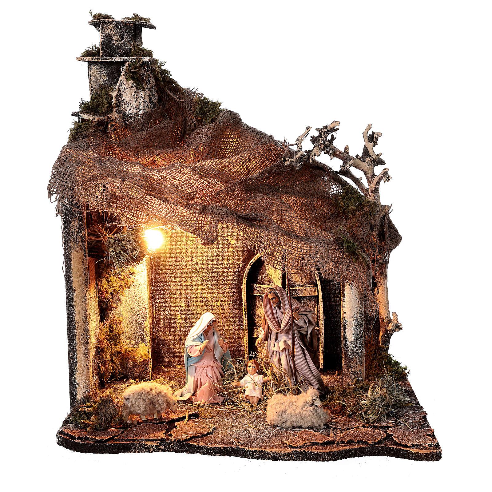 Cabane Nativité portail toit jute santons 12 cm crèche napolitaine 30x35x45 cm 4