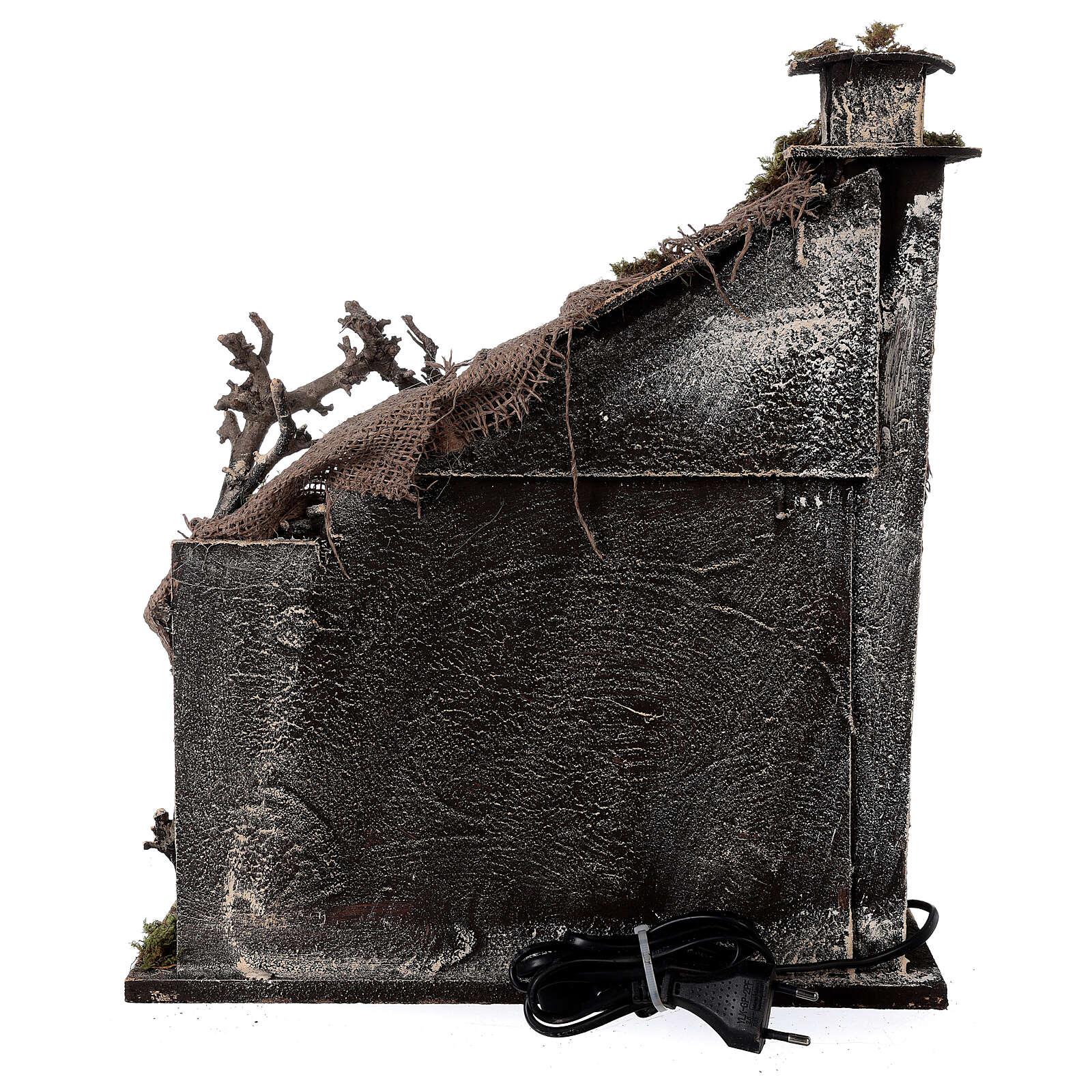 Capanna Natività portone tetto iuta statue 12 cm presepe napoletano 30x35x45 cm 4