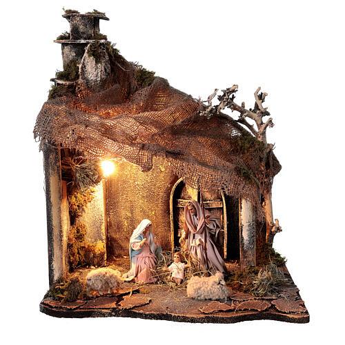 Capanna Natività portone tetto iuta statue 12 cm presepe napoletano 30x35x45 cm 1