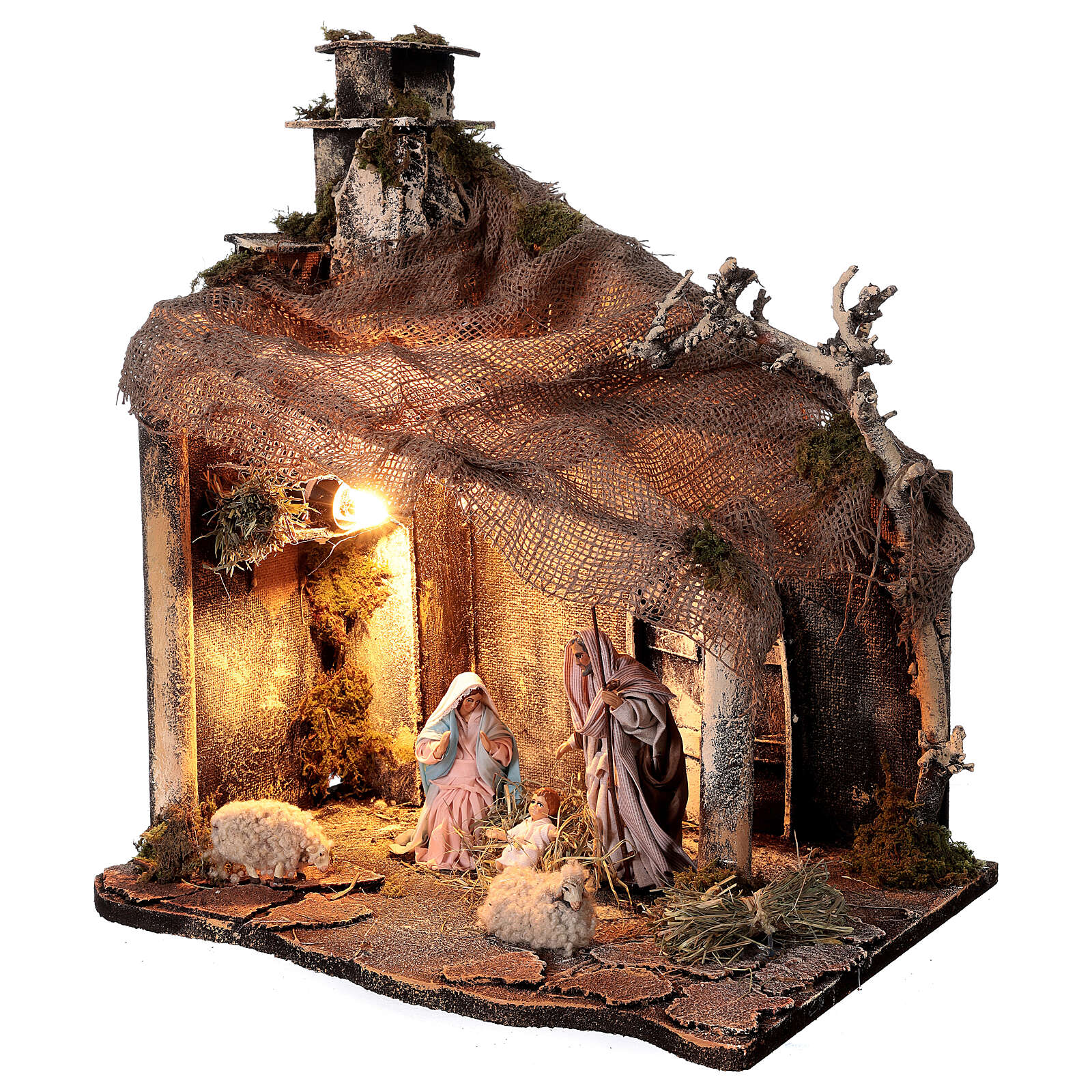 Nativity stable with Holy Family jute roof 12 cm Neapolitan nativity 30x35x45 cm 4