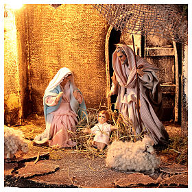 Nativity stable with Holy Family jute roof 12 cm Neapolitan nativity 30x35x45 cm s2
